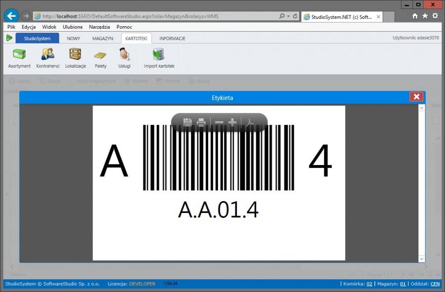 etykieta miejsca składowania kod kreskowy