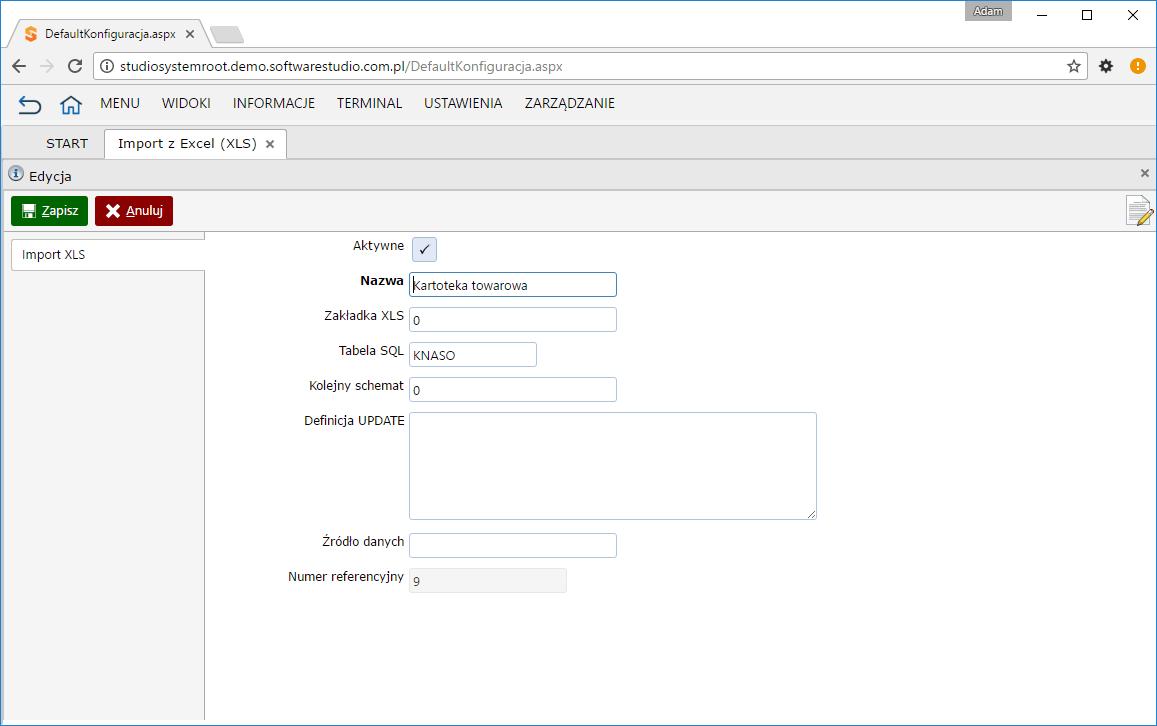 import xls konfiguracja ustawienia ogólne
