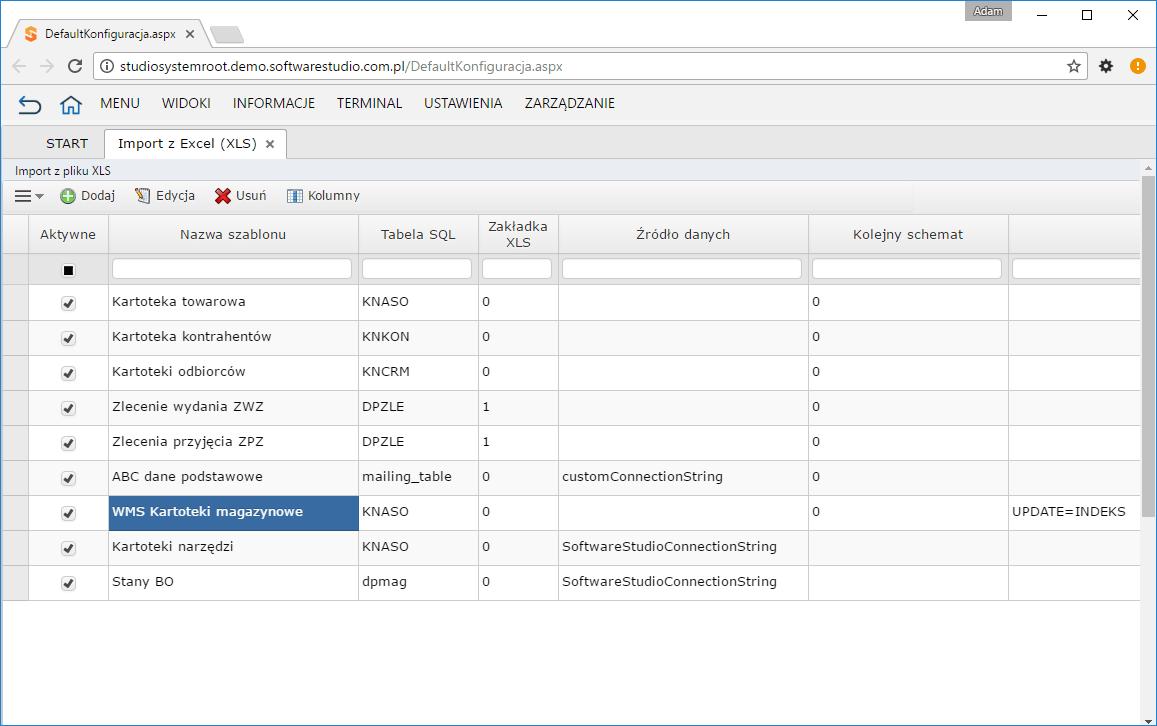 import xls konfiguracja
