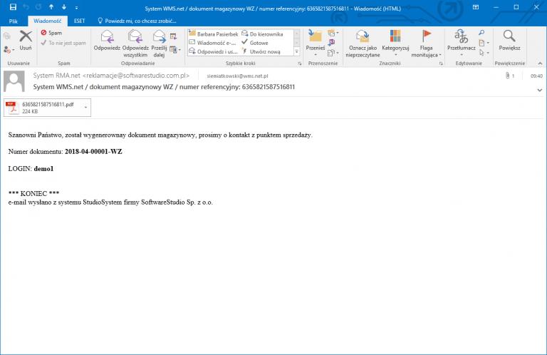 wydruk refno mail